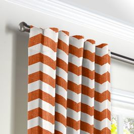 White & Orange Chevron Back Tab Curtains Close Up