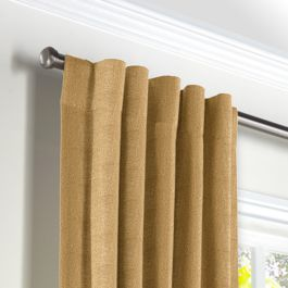 Metallic Gold Linen Back Tab Curtains Close Up