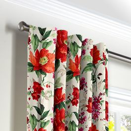 Bold Green & Red Floral Back Tab Curtains Close Up