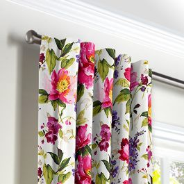 Chintz-like Pink Floral Back Tab Curtains Close Up