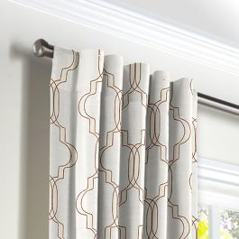 Embroidered Gold Trellis Back Tab Curtains Close Up