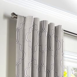 Embroidered Gray Trellis Back Tab Curtains Close Up
