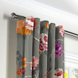 Painterly Pink & Gray Floral Back Tab Curtains Close Up