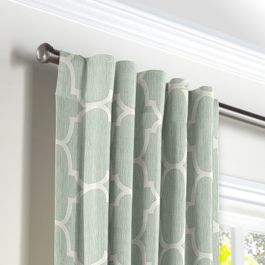 Sea Green Quatrefoil Back Tab Curtains Close Up