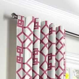 Asian Pink Trellis Back Tab Curtains Close Up