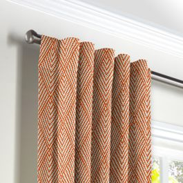 Tribal Orange Diamond Back Tab Curtains Close Up
