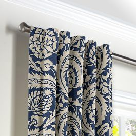 Natural & Blue Botanical  Back Tab Curtains Close Up