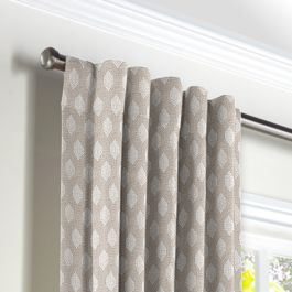 Light Taupe Diamond Back Tab Curtains Close Up