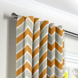 Tan & Orange Chevron  Back Tab Curtains Close Up