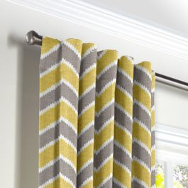 Gray & Yellow Chevron Back Tab Curtains Close Up