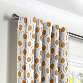 Beige & Orange Hexagon Back Tab Curtains Close Up