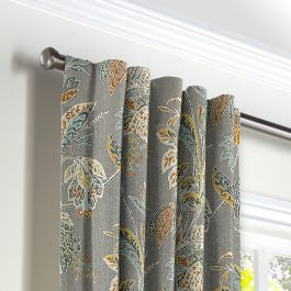 Intricate Gray Floral Back Tab Curtains Close Up
