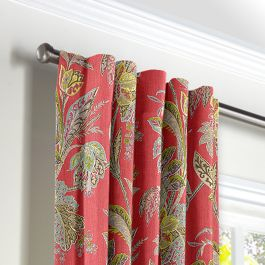Intricate Pink Floral Back Tab Curtains Close Up