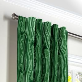 Marbled Green Malachite Back Tab Curtains Close Up
