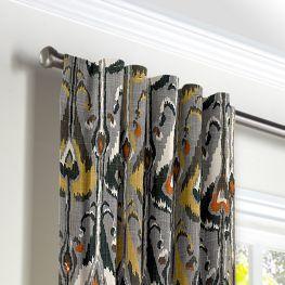 Gray & Orange Ikat Back Tab Curtains Close Up