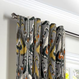 Gray & Orange Ikat Back Tab Curtains Close Up