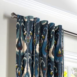 Navy Blue Ikat Back Tab Curtains Close Up