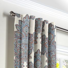 Coral & Blue Paisley Damask Back Tab Curtains Close Up