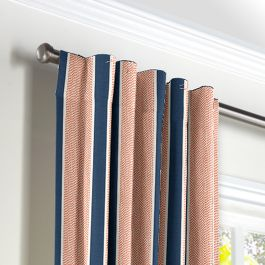 Coral & Blue Stripe Back Tab Curtains Close Up