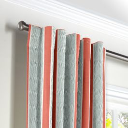 Aqua & Coral Pink Stripe Back Tab Curtains Close Up