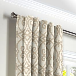 Tan Scroll Trellis Back Tab Curtains Close Up