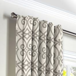 Gray Scroll Trellis Back Tab Curtains Close Up