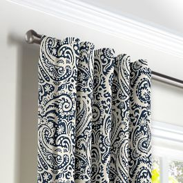 Navy Blue Paisley Back Tab Curtains Close Up