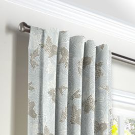 Gray Koi Fish Back Tab Curtains Close Up
