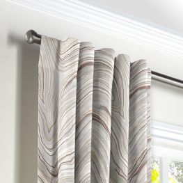 Light Gray Marble Back Tab Curtains Close Up