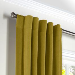 Chartreuse Green Velvet Back Tab Curtains Close Up
