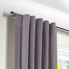 Lavender Gray Velvet Back Tab Curtains Close Up