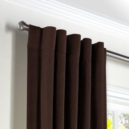 Chocolate Brown Velvet Back Tab Curtains Close Up