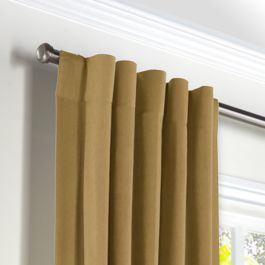 Warm Camel Velvet Back Tab Curtains Close Up