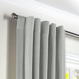 Heathered Light Gray Woven Blend Back Tab Curtains Close Up