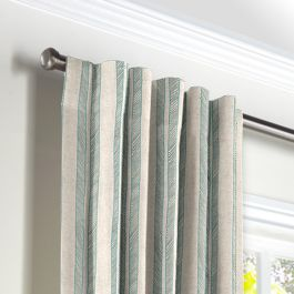 Embroidered Aqua Stripe Back Tab Curtains Close Up