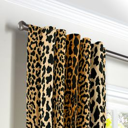 Velvet Leopard Print Back Tab Curtains Close Up