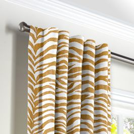 Gold Zebra Print Back Tab Curtains Close Up