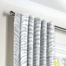 Light Gray Zebra Print Back Tab Curtains Close Up
