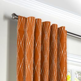 Burnt Orange Diamond Back Tab Curtains Close Up