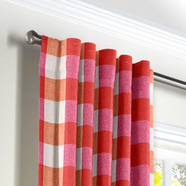 Pink & Orange Buffalo Check Back Tab Curtains Close Up