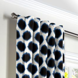 Black & Blue Dot Back Tab Curtains Close Up