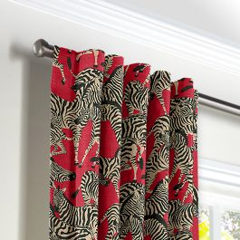 Black, White & Red Zebra Back Tab Curtains Close Up