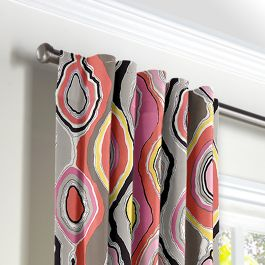 Hot Pink & Orange Abstract Back Tab Curtains Close Up