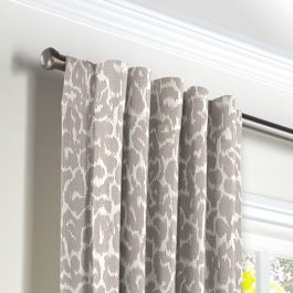 Gray & White Leopard Print Back Tab Curtains Close Up