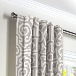 Modern Gray Trellis Back Tab Curtains Close Up