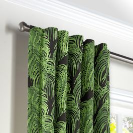 Green & Black Palm Leaf Back Tab Curtains Close Up