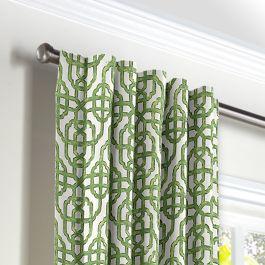 Green Watercolor Trellis Back Tab Curtains Close Up