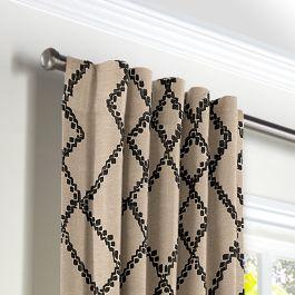 Black & Tan Tribal Trellis Back Tab Curtains Close Up