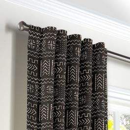 Black Woven Tribal Back Tab Curtains Close Up