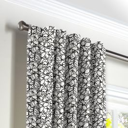 Black & White Abstract Hexagon Back Tab Curtains Close Up